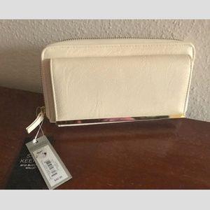 Apt 9 leather zip around checkbook wallet w/RFID